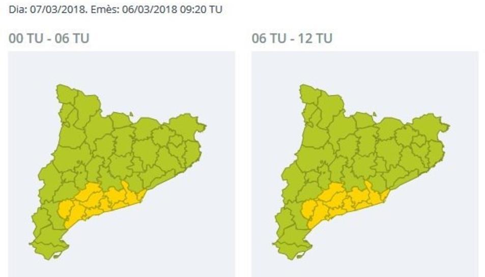 Imatge de la previsió de vent a Catalunya.