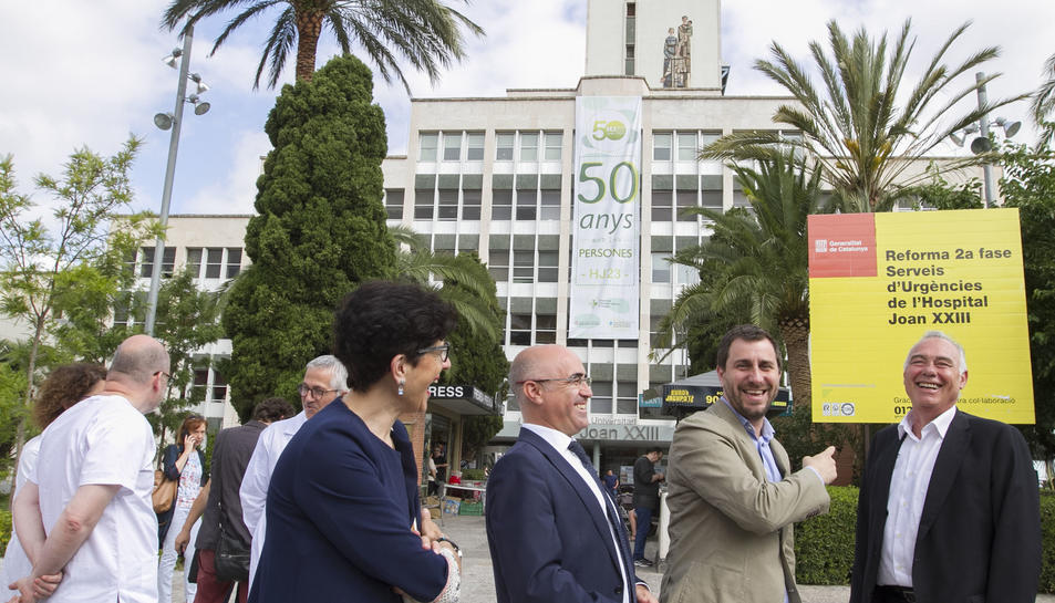 Antoni Comín, Òscar Peris i Rafel Gràcia a l'entrada del Joan XXIII el passat mes de juny de 2017.