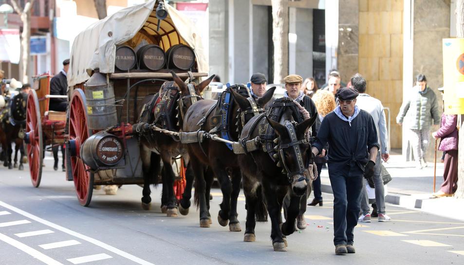 Uns carruatges, ascendint per Ramón y Cajal en direcció a la Rambla Nova.