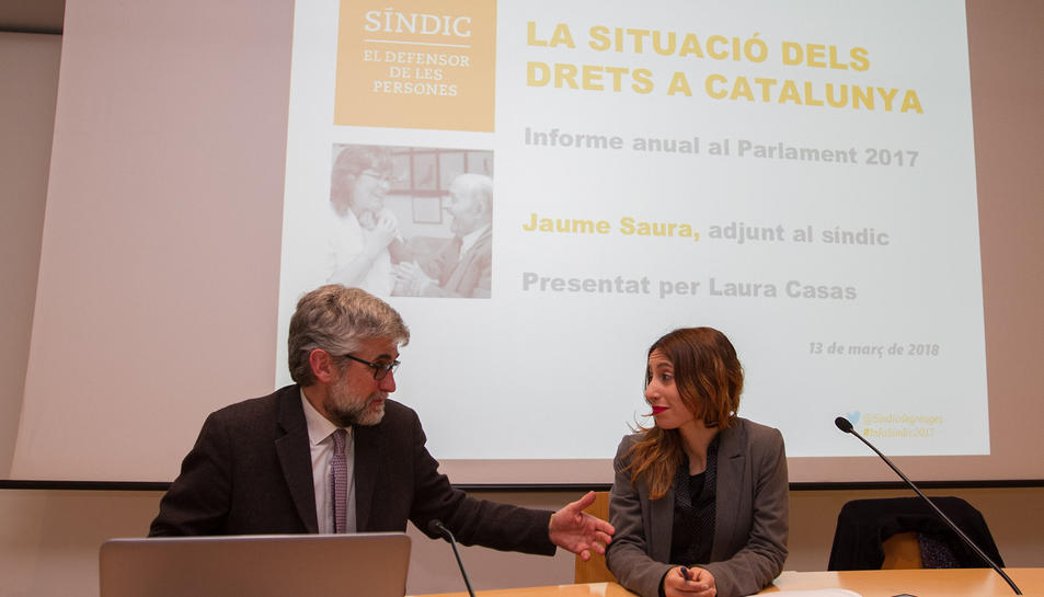 Jaume Saura, ahir a la Casa de Cultura, on va presentar el balanç del 2017 del Síndic de Greuges.