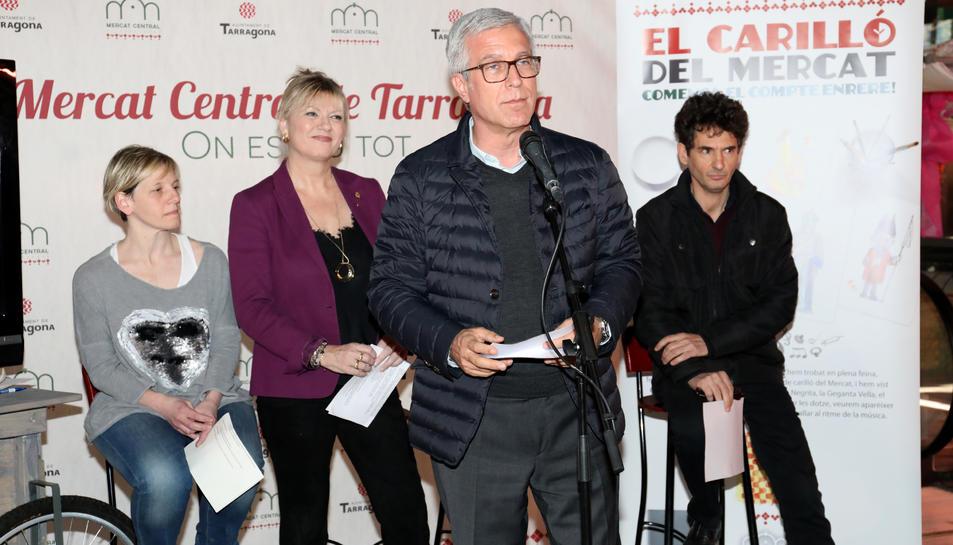 Maria Virgili, Joan Serramià, Elvira Ferrando i Josep Fèlix Ballesteros ahir, durant la presentació.