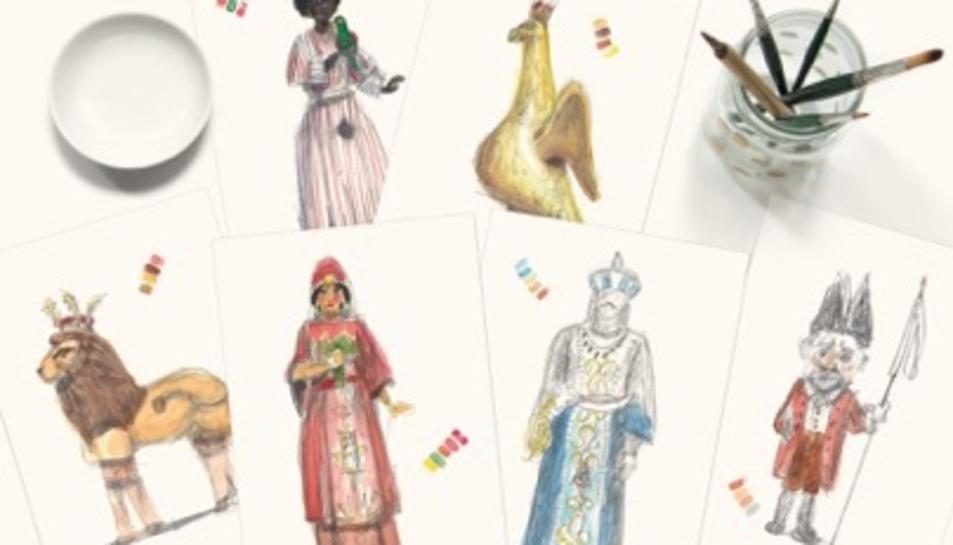 Imatge de les figures del Seguici amb les que treballa l'autor del carilló del Mercat Central.