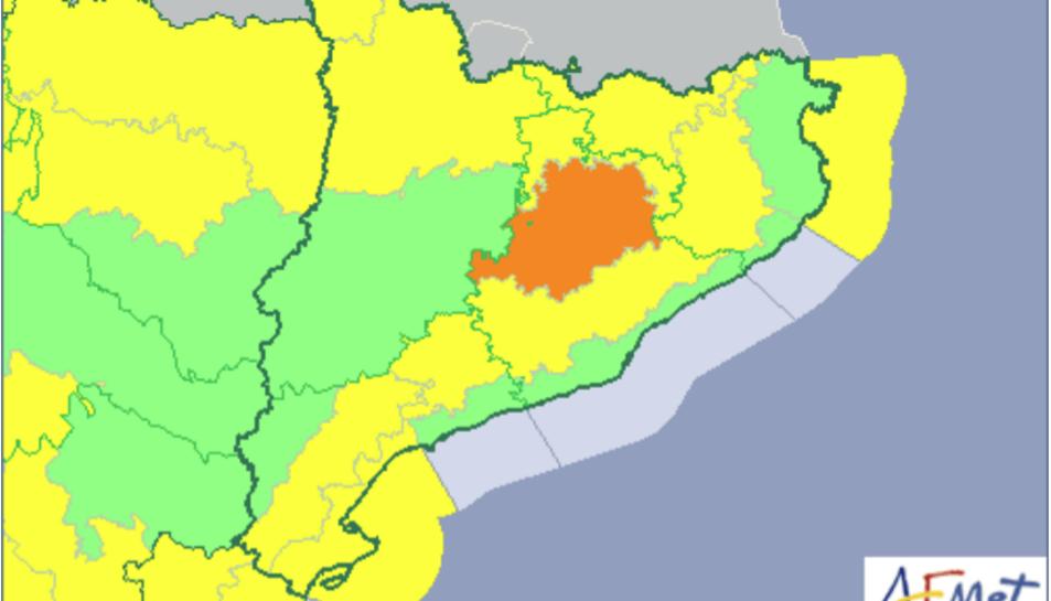Mapa de Catalunya sobre els riscos meteorològics d'aquest dilluns 19 de març.