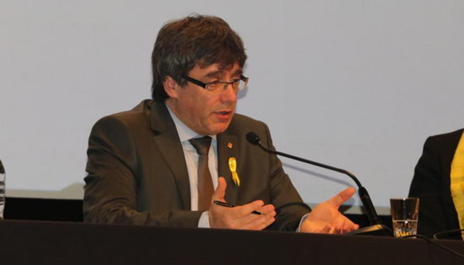 Carles Puigdemont en roda de premsa a Ginebra el 18 de març.