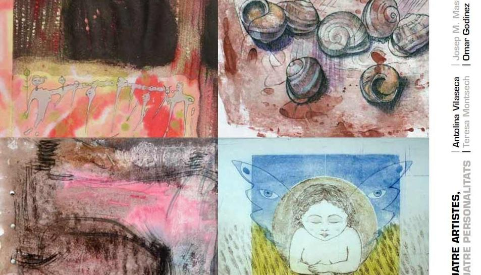 En l'exposició es mostren obres d'Antolina Vilaseca, Teresa Montsech, Josep M. Massegú i Omar Godínez.