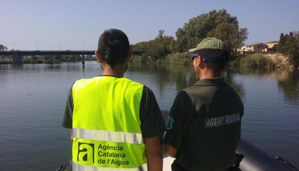 Pla mig d'un tècnic de l'ACA i un Agent Rural recorrent el riu Ebre amb una embarcació.