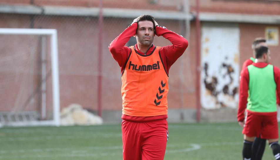 César Arzo, durant un entrenament amb el Nàstic a principis del mes de febrer.