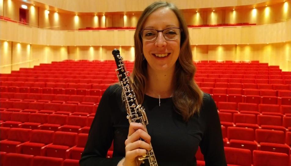Blanca Sans, a l'auditori, treballa com a ajudant d'oboè solista a la JönKöping Sinfonietta.