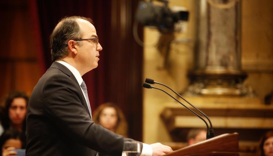 Jordi Turull pronunciant el discurs del debat d'investidura al Parlament.