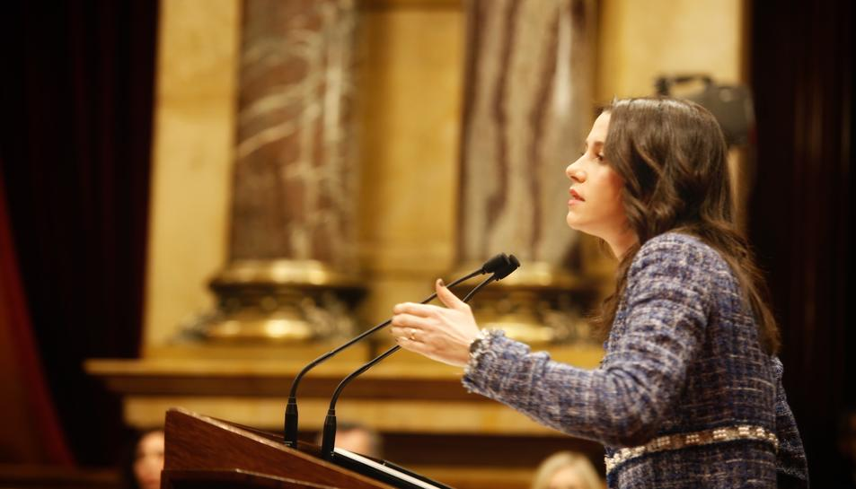 La líder de Cs, Inés Arrimadas, durant el seu discurs en el ple d'investidura.
