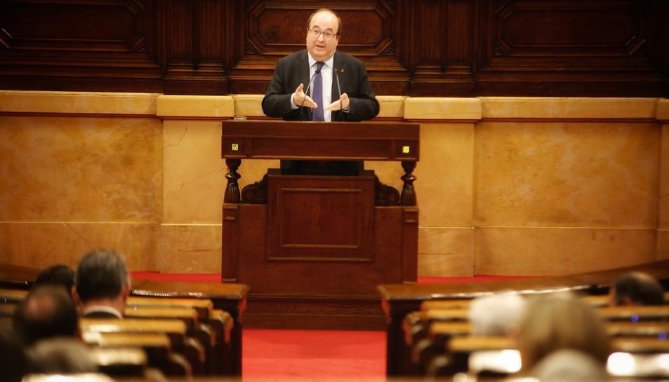 El primer secretari del PSC, Miquel Iceta, al debat d'investidura.
