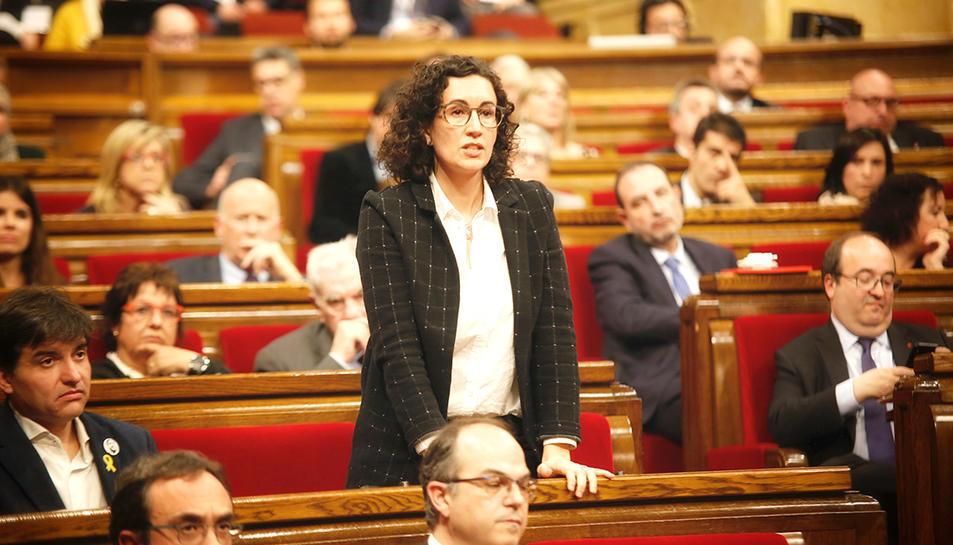 La diputada d'ERC Marta Rovira en el moment de la votació al debat d'investidura de Jordi Turull