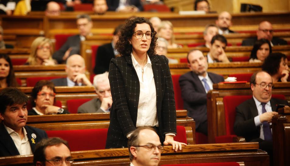 Imatge de Marta Rovira al debta d'investidura d'ahir.