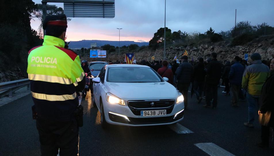 El tall de trànsit a l'A-7, a Tarragona.