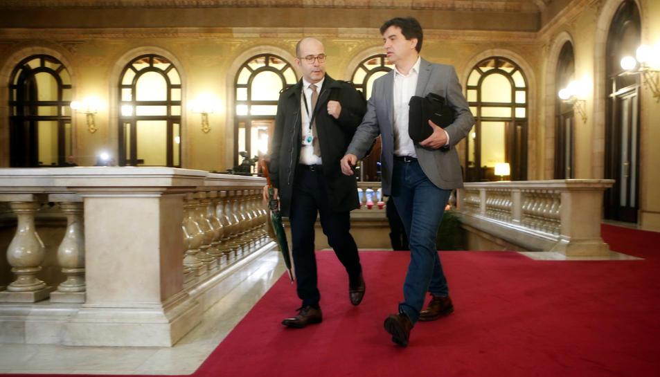 Sergi Sabrià arriba al Parlament.