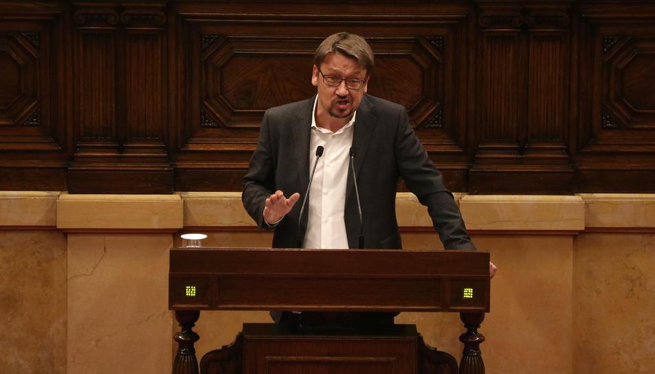 Xavier Domènech, en el ple del Parlament del 28 de març.