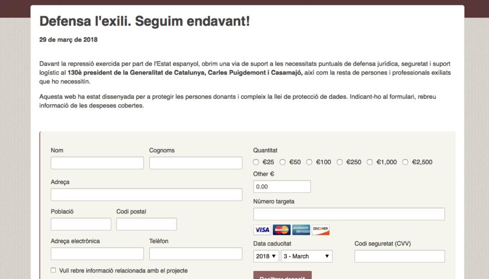 Per recaptar els fons, han obert la pàgina web www.defensaexili.org.