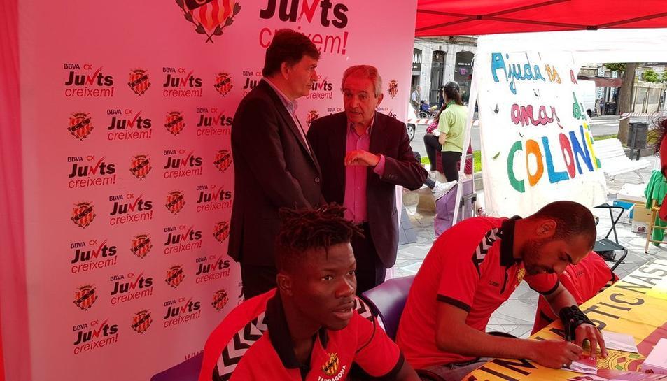 El president grana, Josep Maria Andreu, ha estat acompanyant als jugadors.