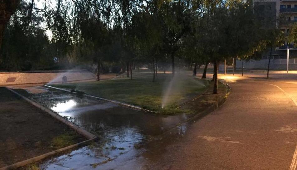 Imatge dels aspersors funcionant durant el vespre del passat dilluns, després de més de 24 hores rajant aigua.