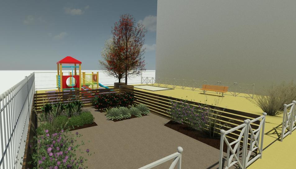 Imatge virtual de la zona d'hort de la nova llar d'infants.
