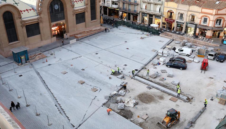 Pla zenital de les obres de la plaça Corsini el passat mes de novembre.