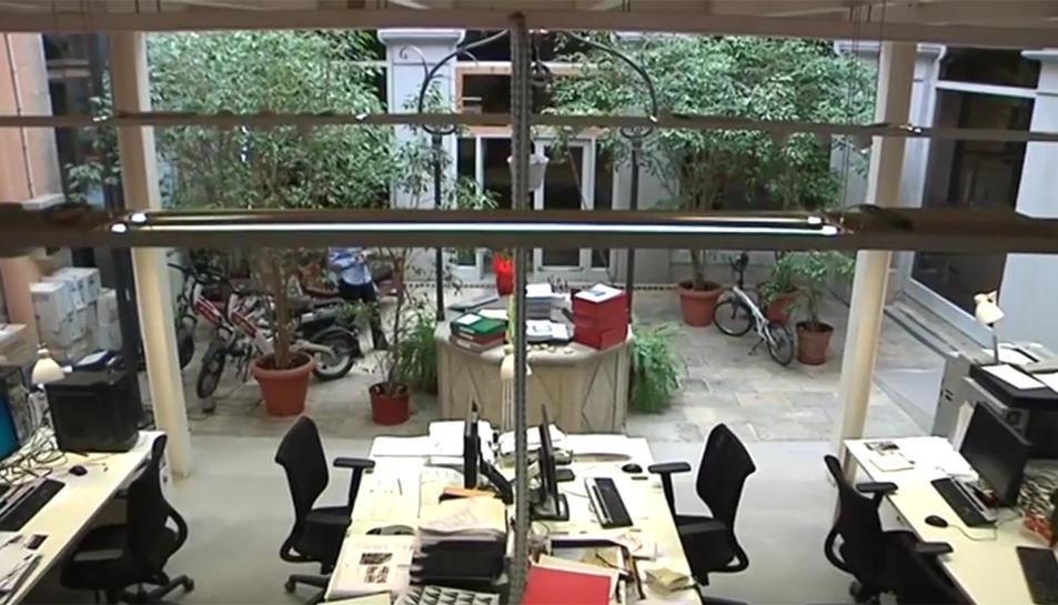 Imatge actual del pati interior, que ucupa l'oficina de projectes d'Urbanisme.