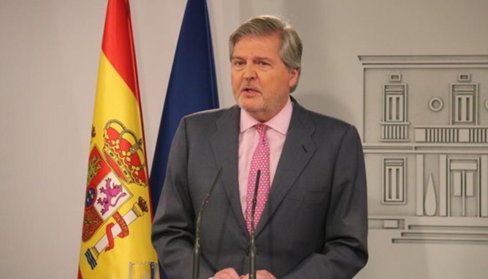El portaveu del govern espanyol, Íñigo Méndez de Vigo, en roda de premsa després del Consell de Ministres extraordinari per aprovar el recurs contra la Llei de la presidència 09/05/2018.