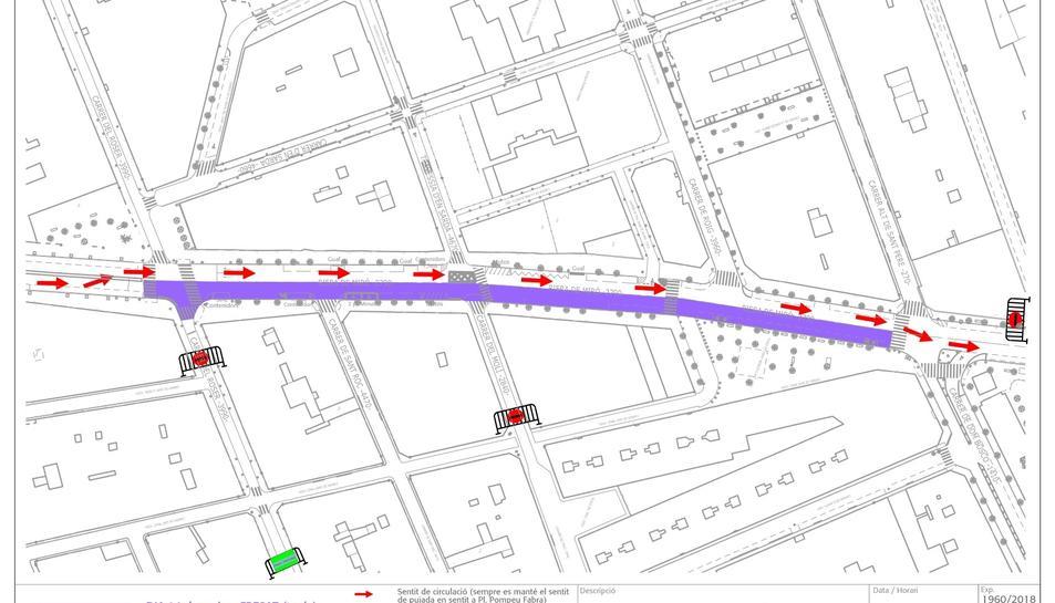 Plànol de les afectacions al trànsit durant la segona fase.
