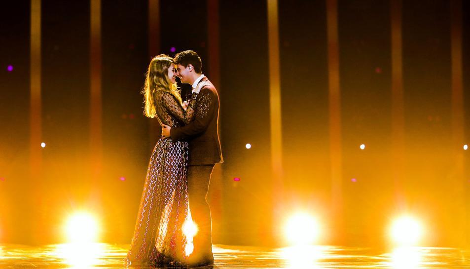 Imatge d'Amaia i Alfred, representants d'Espanya a Eurovisión 2018, durant un assaig.