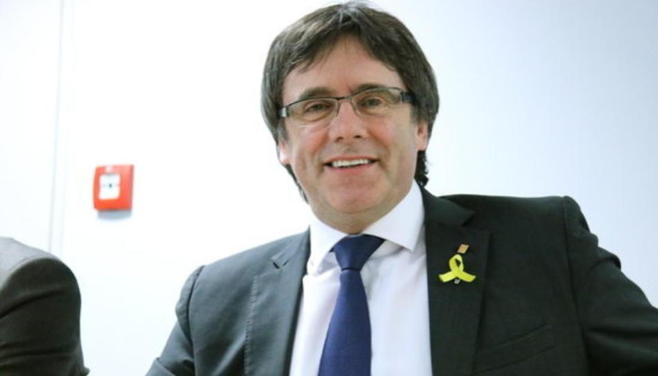 El líder de JxCat, Carles Puigdemont, durant la reunió del grup a Berlín el 5 de maig de 2018.