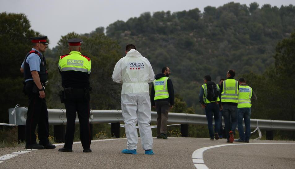 Pla general de la unitat científica dels Mossos d'Esquadra en l'accident de l'avioneta estavellada entre Vinebre i Flix a la Ribera dEbre aquest 12 de maig del 2018. (Hortizontal)