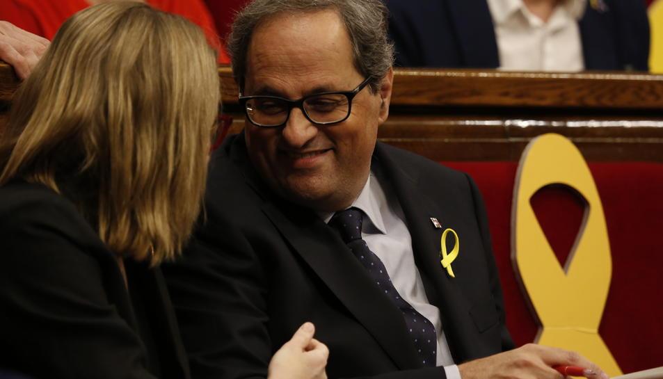 Quim Torra al seu escó aquest dissabte 12 de maig en el debat d'investidura al Parlament.