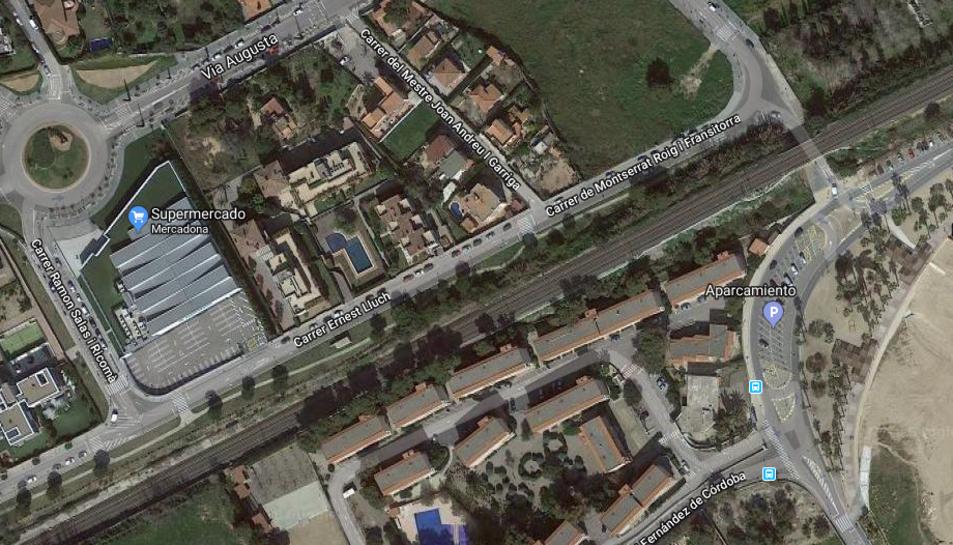 Imatge aèria de la zona afectada pels canvis establerts en la circulació de vehicles.