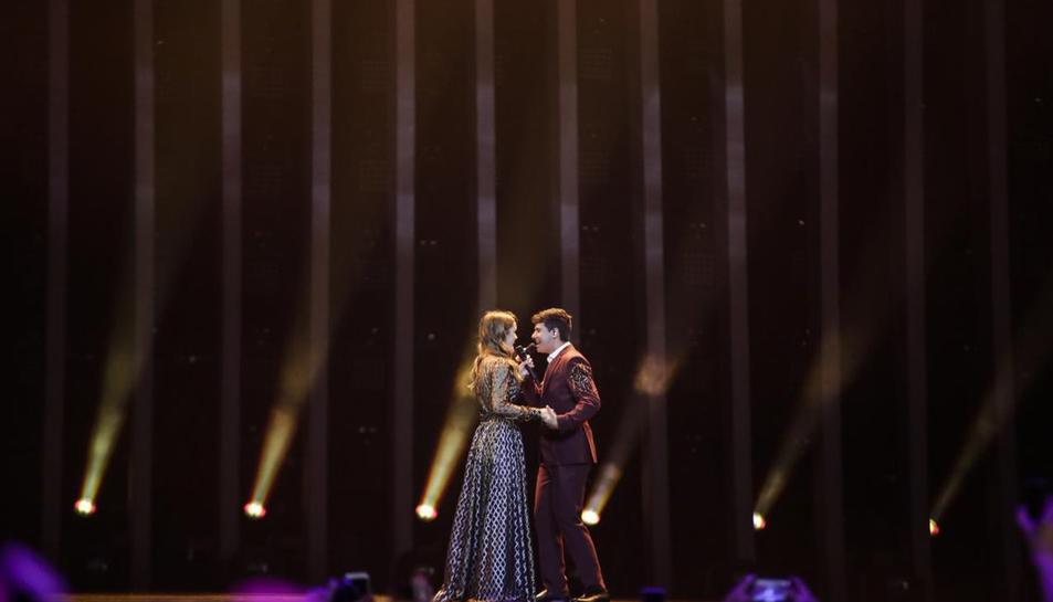 Amaia i Alfred durant l'actuació a Eurovisión