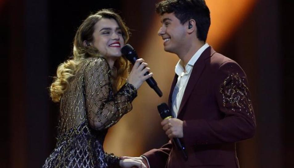 Amaia i Alfred durant la seva actuacuó a Eurovisión 2018.