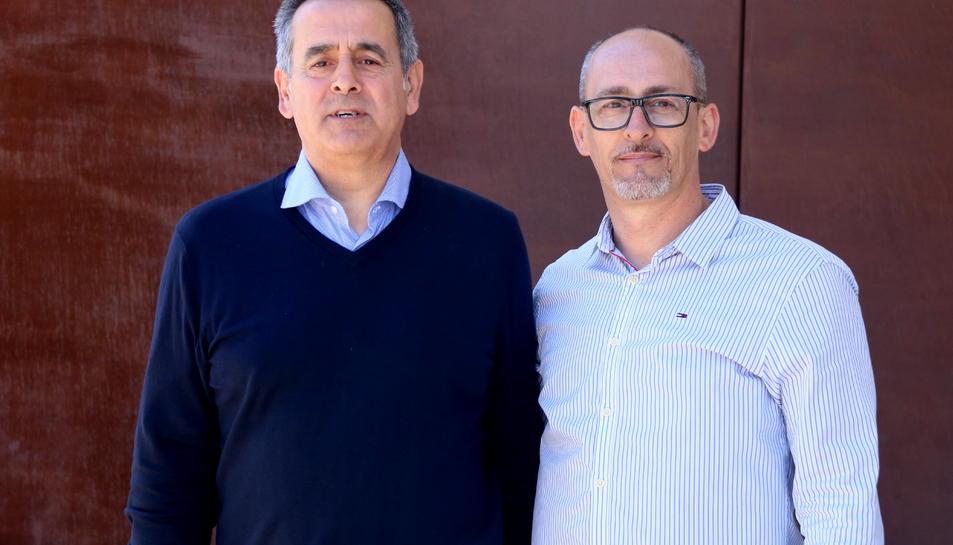 Els alcaldes de Llorenç del Penedès i Banyeres del Penedès, Jordi Marlès i Amadeu Benach, després de declarar als jutjats del Vendrell