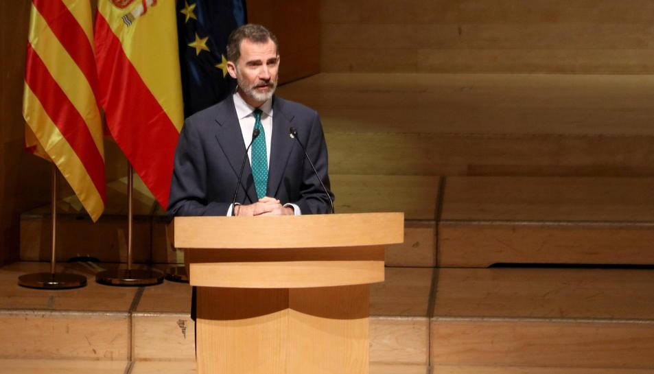 Imatge d'arxiu del rei Felip VI durant un discurs en l'acte d'entrega de despatxos judicials.