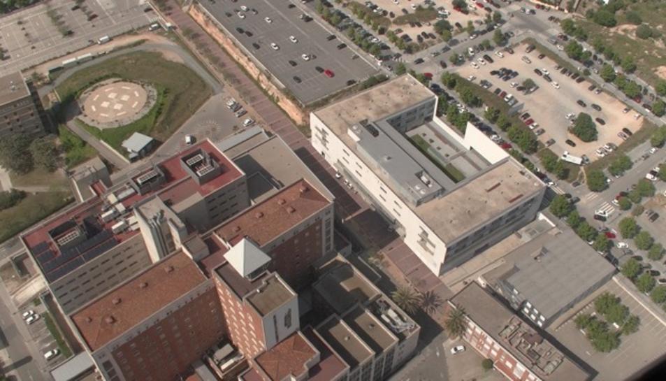 Imatge aèria de l'Hospital Joan XXIII, que canviarà per complet quan hagin acabat les obres.