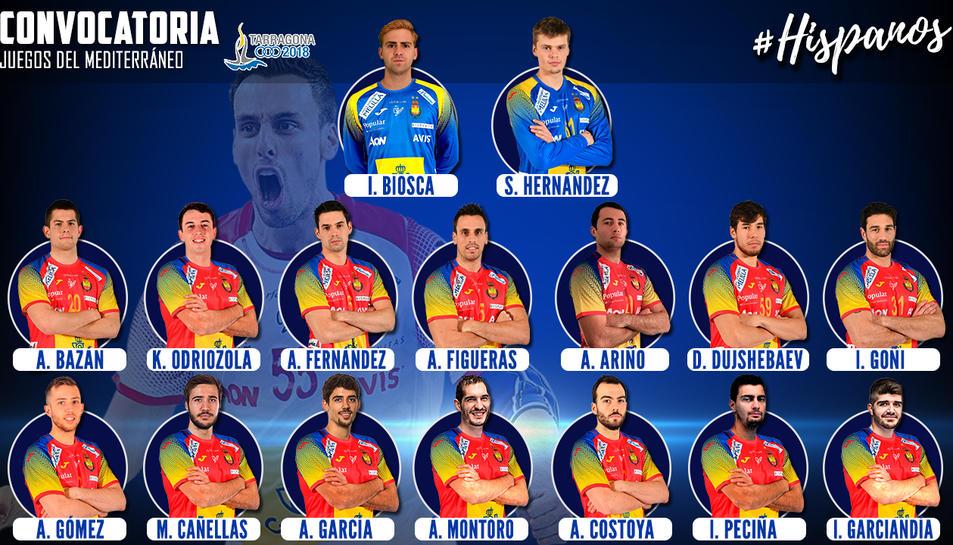 Aquests són tots els jugadors que presentarà la Selecció Espanyola d'Handbol durant els Jocs Mediterranis Tarragona 2018.