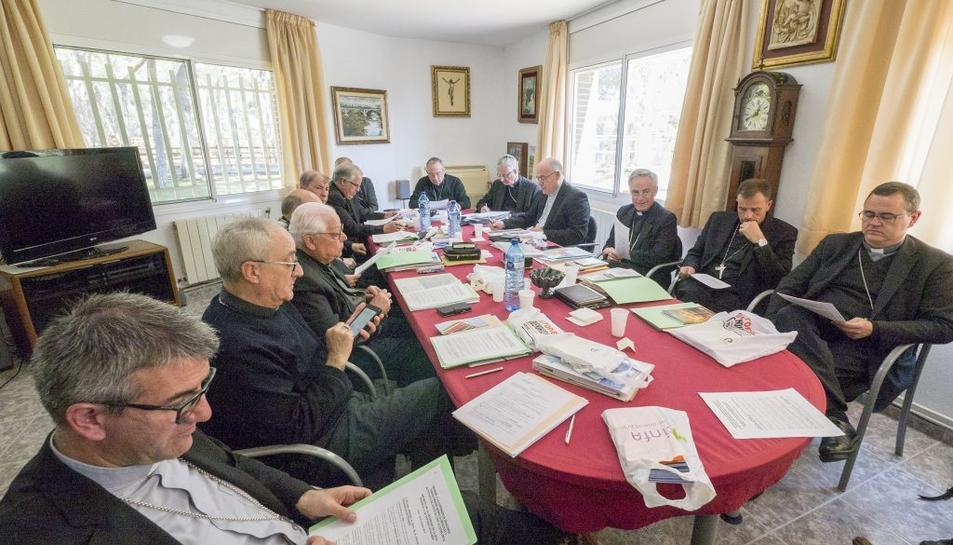 Els bisbes catalans, durant la reunió celebrada al Santuari de Nostra Senyora de Loreto.