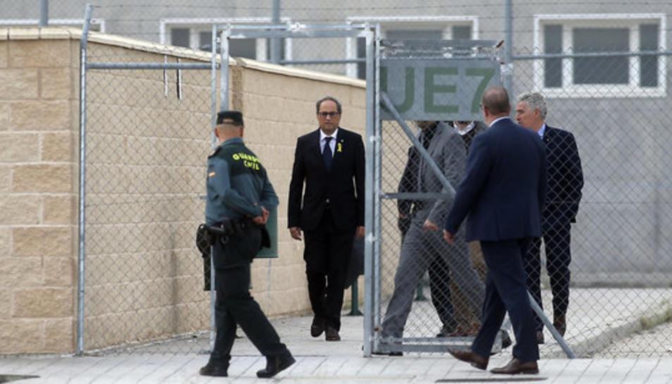 Imatge del president Quim Torra sortint del pàrquing de la presó d'Estremera.