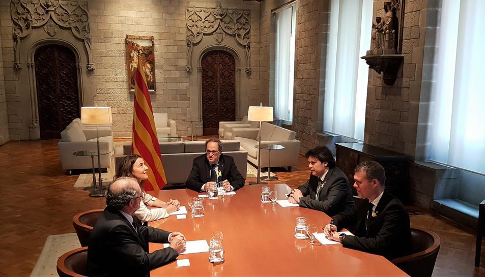 Representants de les quatre diputacions s'han reunit avui amb el president de la Generalitat, Quim Torra.