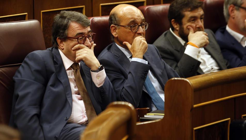 El portaveu del PNB al Congrés de Diputats, Aitor Esteban, durant el debat de la moció de censura.
