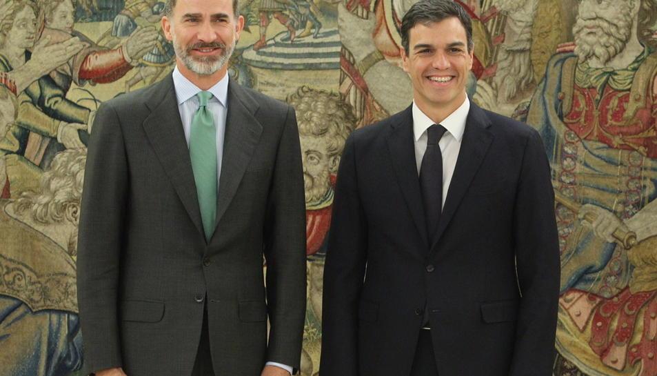 El rei Felip VI i el líder del PSOE, Pedro Sánchez, el 4 de juliol de 2017.