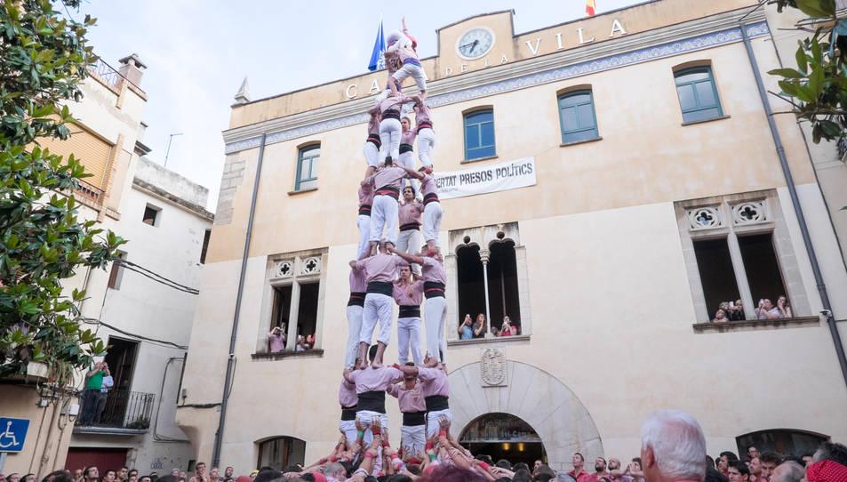 4de8 dels Xiquets de Tarragona a la diada de la festa major de La Selva del Camp
