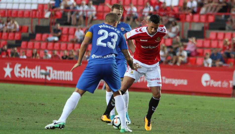 Maikel Mesa, durant el Nàstic-Almería d'aquesta temporada.