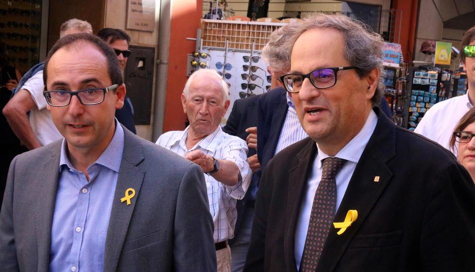 Quim Torra amb l'alcalde de Palamós, Lluís Puig.