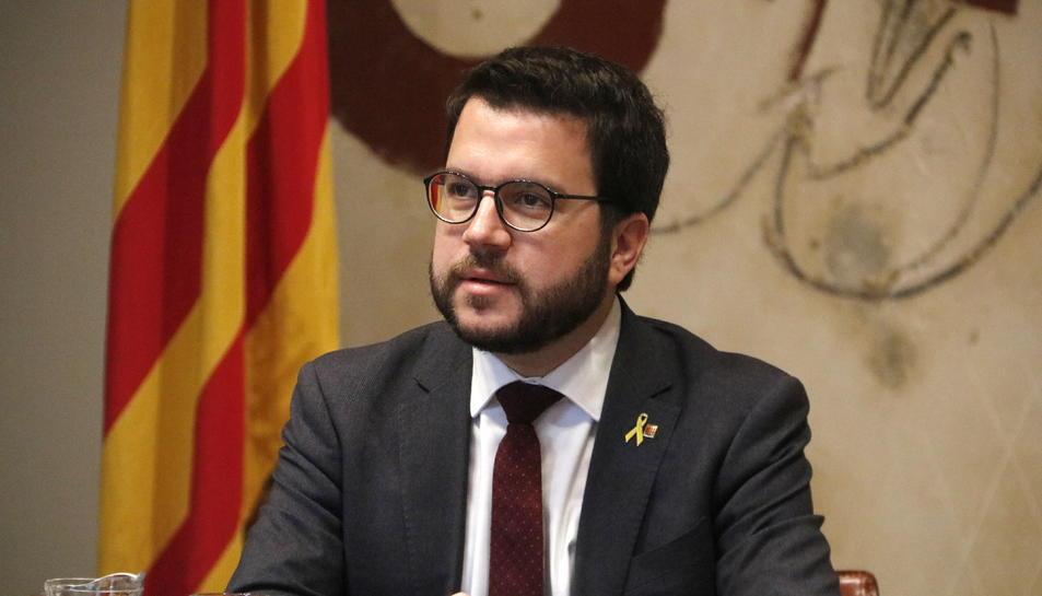El vicepresident, Pere Aragonès, al Consell Executiu el president Quim Torra, reunit per primer cop de manera ordinària.