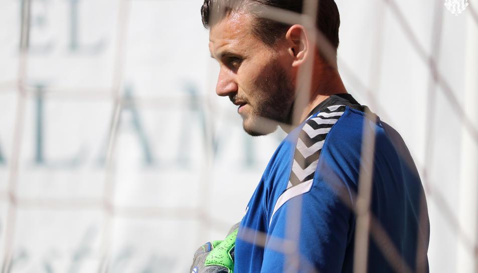 Stole Dimitrievski, durant un entrenament aquesta temporada amb el Nàstic.