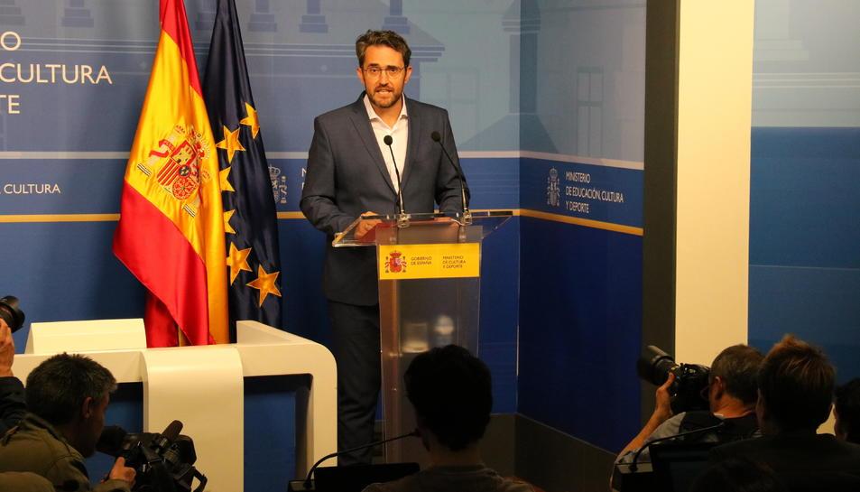 Màxim Huerta, durant la seva compareixença per dimitir com a ministre de Cultura.